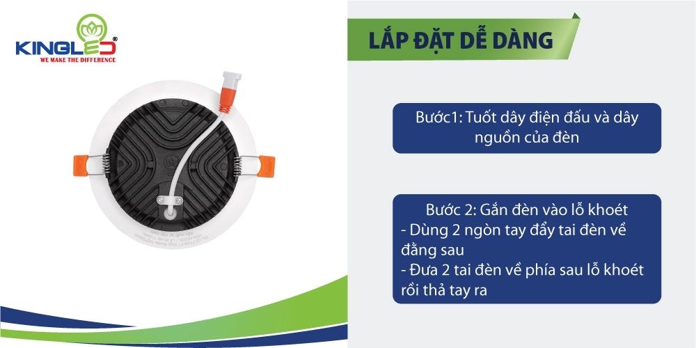 Đèn DL-12-T40-DM có tai cheo giúp lắp đặt dễ dàng chỉ sau 2thao tác đơn giản.